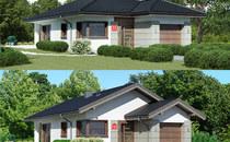 Nowe parterowe domy z serii przy Pastelowej – idealne na wąską działkę.
