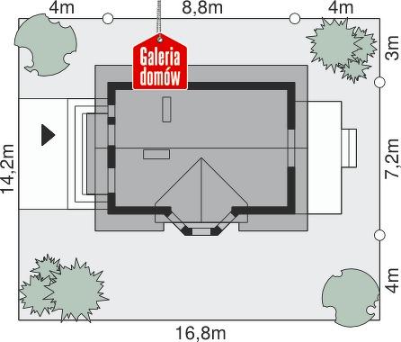 Dom przy Jałowcowej - wymiary na działce