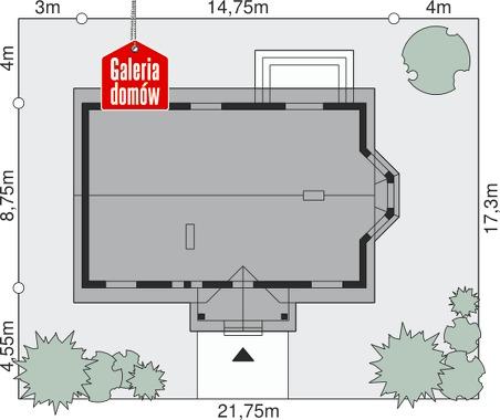 Dom przy Chabrowej - wymiary na działce