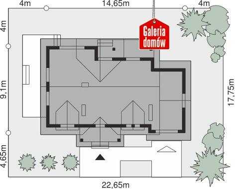 Dom przy Bocianiej - wymiary na działce