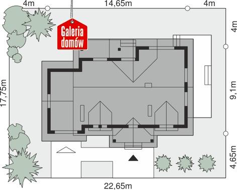 Dom przy Szarotek - wymiary na działce