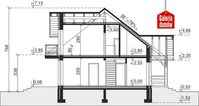 Dom przy Modrzewiowej 2 - przekrój