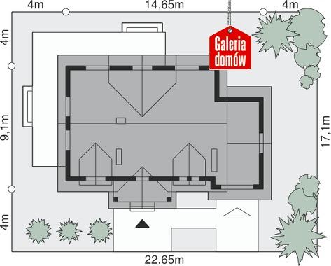 Dom przy Modrzewiowej 2 - wymiary na działce