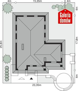 Dom przy Baśniowej - wymiary na działce