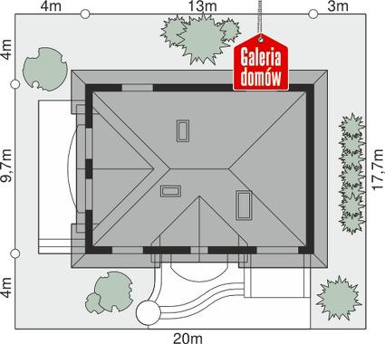 Dom przy Bukszpanowej - wymiary na działce