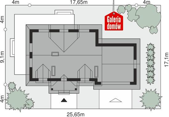Dom przy Bursztynowej - wymiary na działce