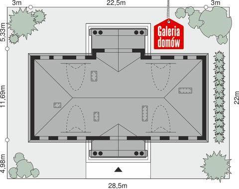 Dom przy Kaszmirowej - wymiary na działce