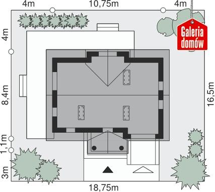 Dom przy Polnej - wymiary na działce