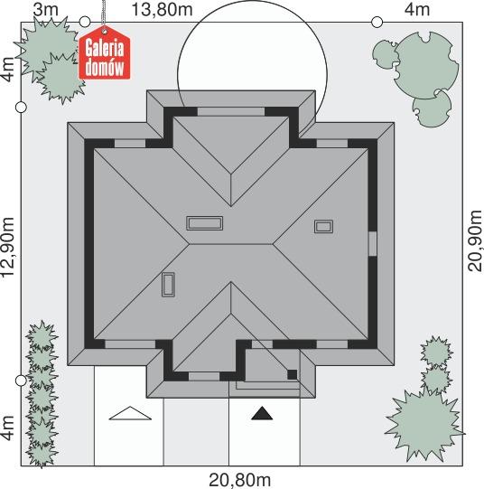 Dom przy Sadowej - wymiary na działce