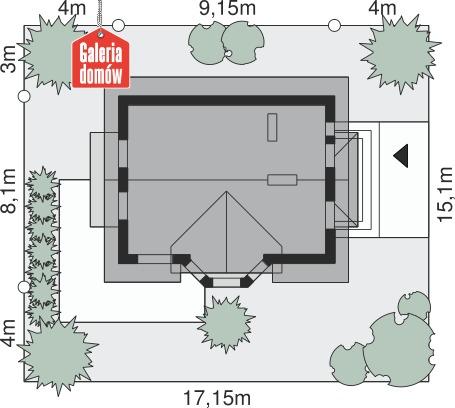 Dom przy Kalinowej 2 - wymiary na działce