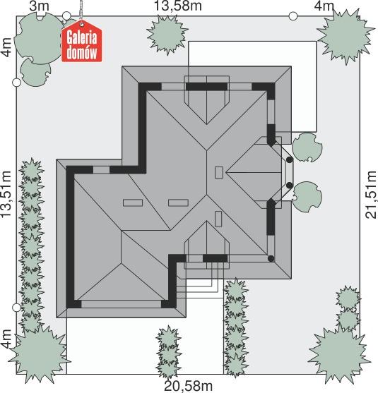 Dom przy Sielskiej - wymiary na działce