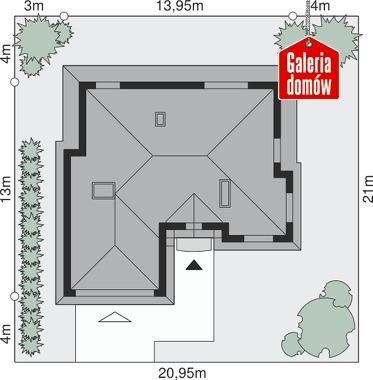 Dom przy Ciepłej - wymiary na działce