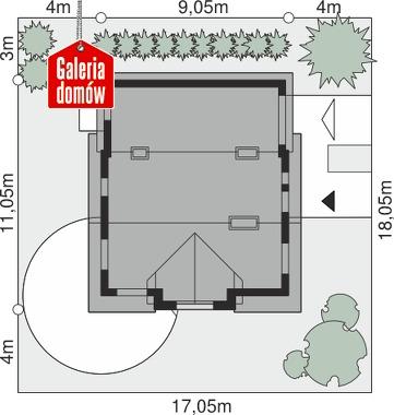 Dom przy Kalinowej 4 - wymiary na działce