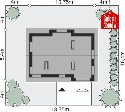 Dom przy Polnej 2 - wymiary na działce