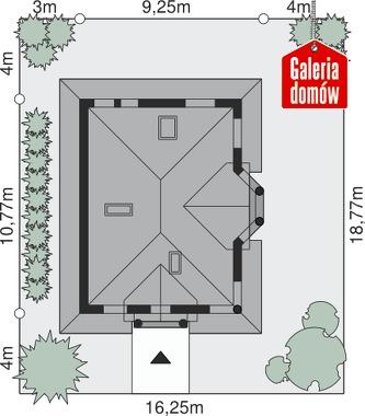 Dom przy Sielskiej 2 - wymiary na działce