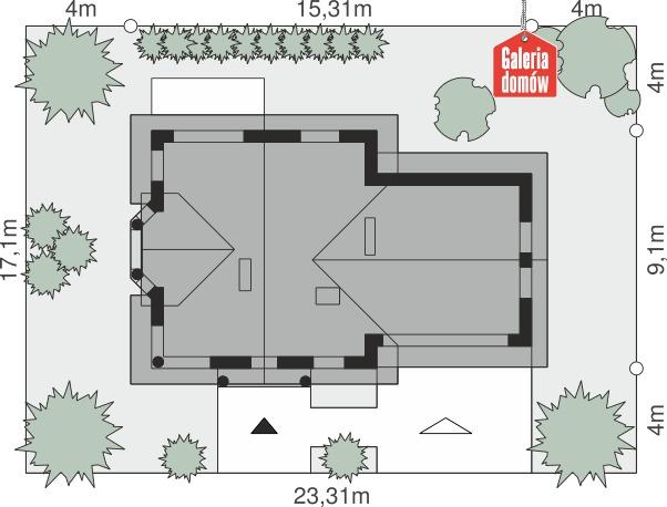 Dom przy Przyjaznej 2 - wymiary na działce