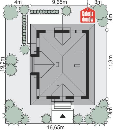 Dom przy Sielskiej 4 - wymiary na działce
