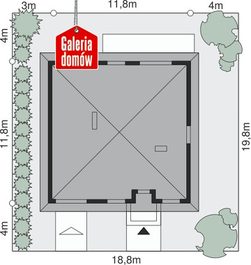 Dom przy Niezapominajek 2 - wymiary na działce
