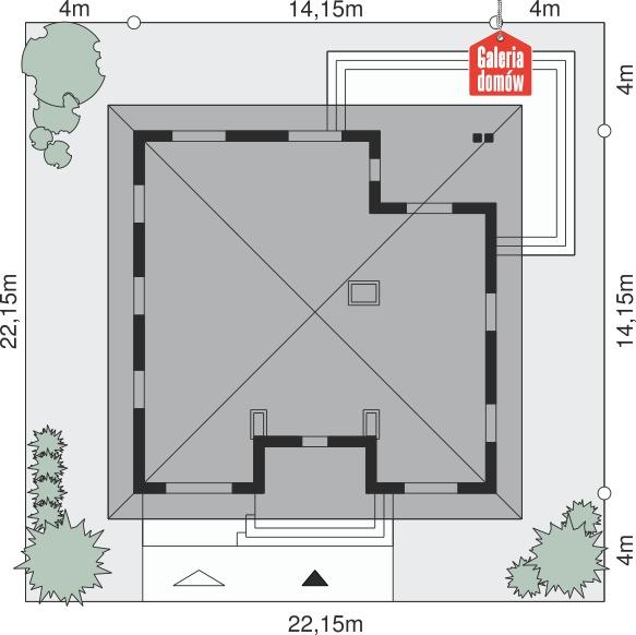 Dom przy Rubinowej 2 - wymiary na działce