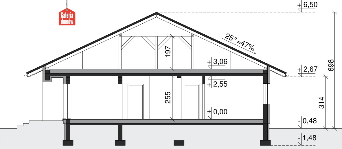 Dom przy Słonecznej 2 - przekrój