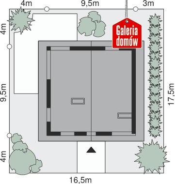 Dom przy Cyprysowej 2 - wymiary na działce