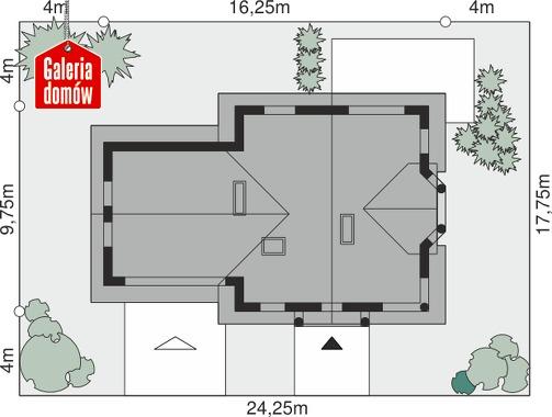 Dom przy Przyjaznej 8 - wymiary na działce