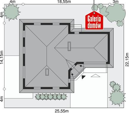 Dom przy Jaśminowej 2 - wymiary na działce