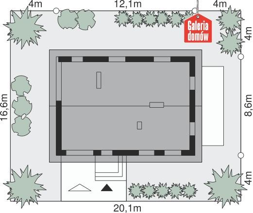 Dom przy Głogowej 3 - wymiary na działce