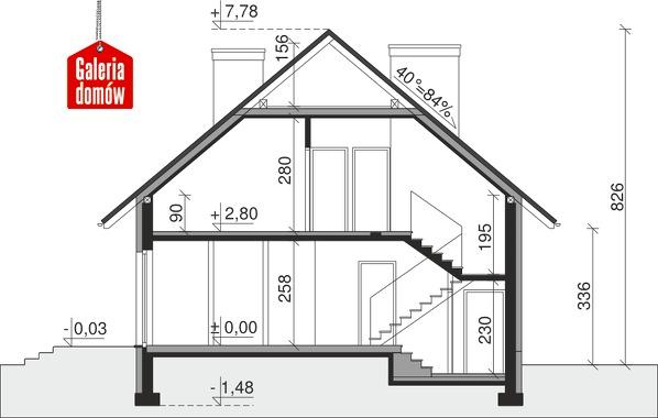 Dom przy Cyprysowej 3 - przekrój