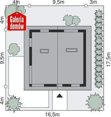 Dom przy Cyprysowej 3 - wymiary na działce