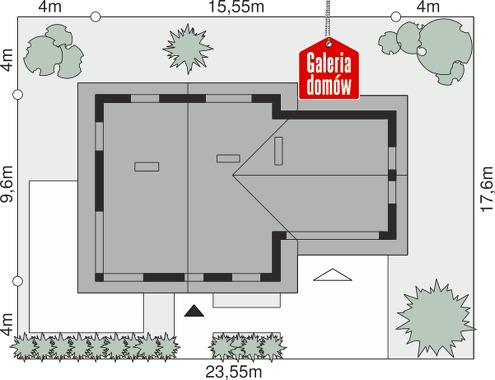 Dom przy Cyprysowej 4 - wymiary na działce