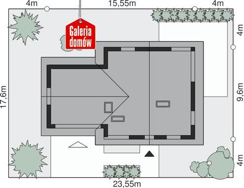 Dom przy Cyprysowej 5 - wymiary na działce