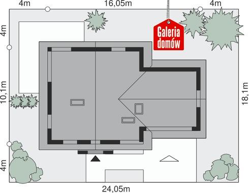 Dom przy Cyprysowej 6 - wymiary na działce