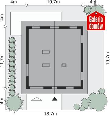 Dom przy Wiązowej 2 - wymiary na działce