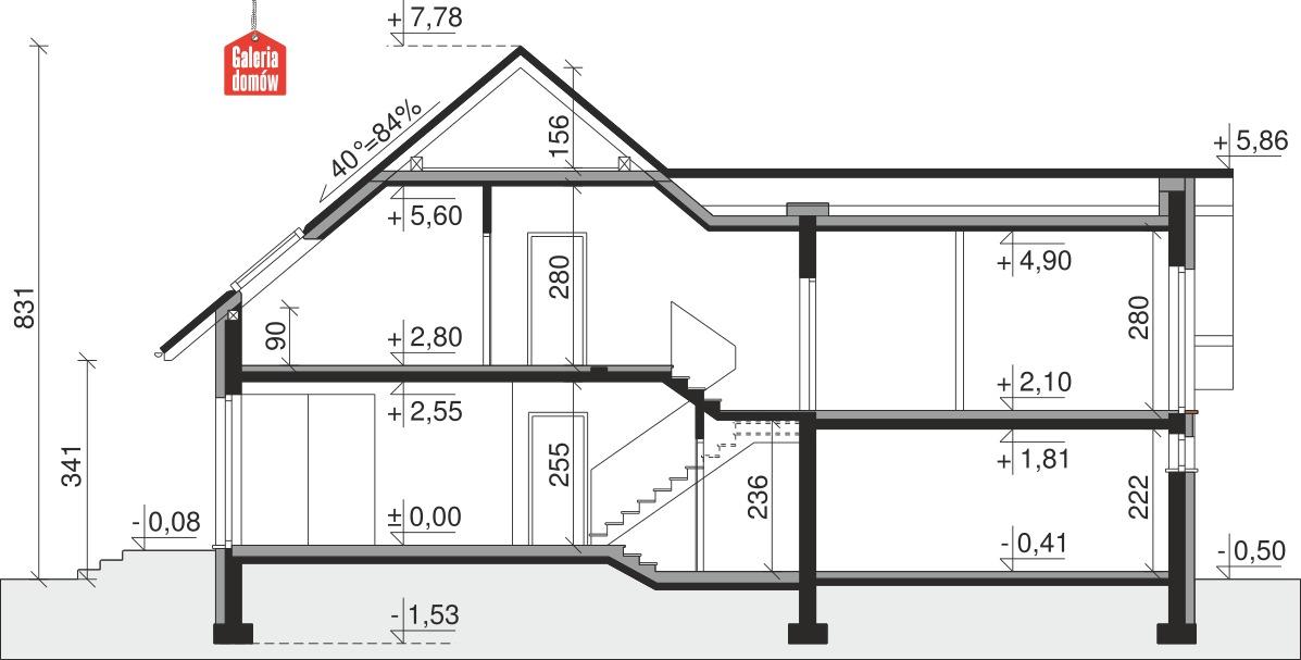 Dom przy Cyprysowej 8 - przekrój