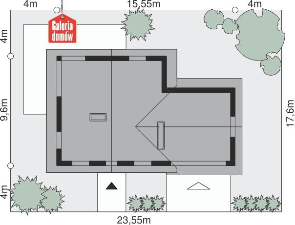 Dom przy Cyprysowej 8 - wymiary na działce