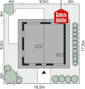 Dom przy Cyprysowej 2 bis - wymiary na działce