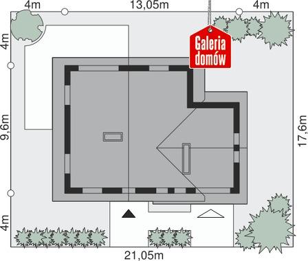 Dom przy Cyprysowej 10 - wymiary na działce