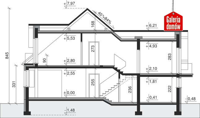 Dom przy Cyprysowej 14 - przekrój