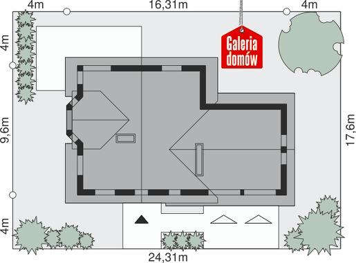 Dom przy Cyprysowej 15 - wymiary na działce