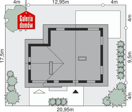 Dom przy Cyprysowej 17 - wymiary na działce