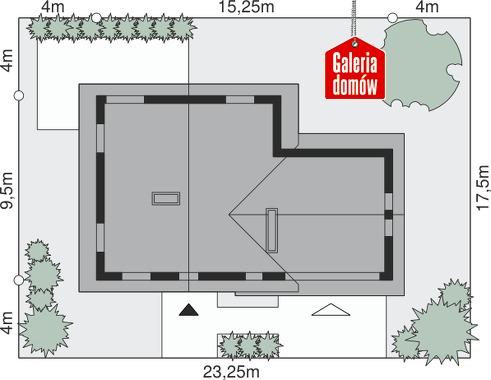 Dom przy Cyprysowej 18 - wymiary na działce
