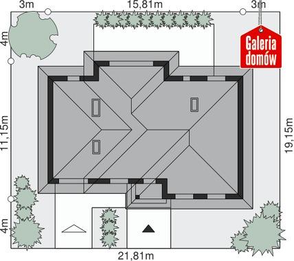 Dom przy Fiołkowej 2 - wymiary na działce