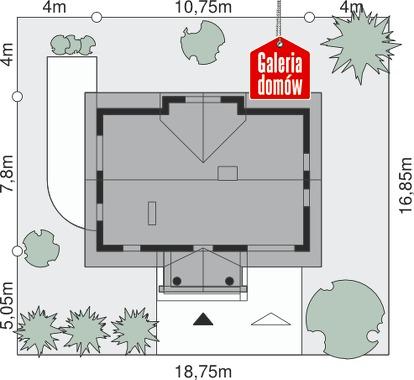 Dom przy Sosnowej - wymiary na działce