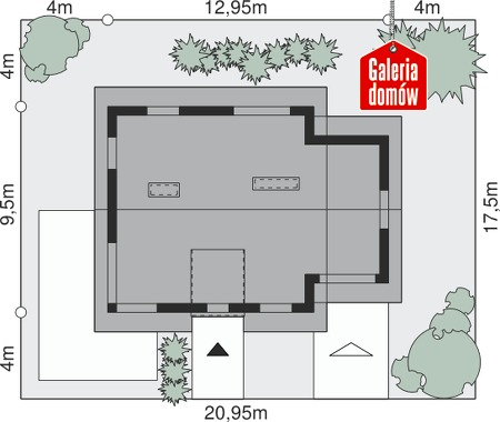 Dom przy Cyprysowej 21 - wymiary na działce