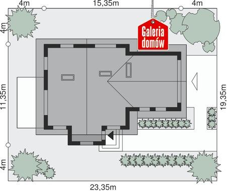 Dom przy Cyprysowej 19 - wymiary na działce