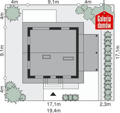 Dom przy Cyprysowej 26 - wymiary na działce