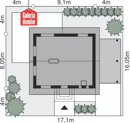 Dom przy Imbirowej 3 - wymiary na działce