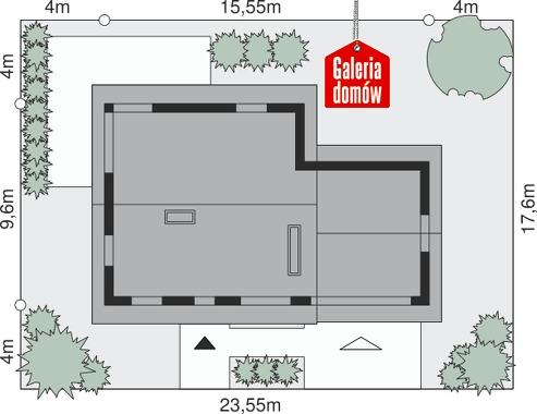 Dom przy Cyprysowej 24 - wymiary na działce