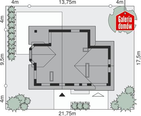 Dom przy Cyprysowej 25 - wymiary na działce